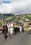 Madeira Wine Festival in Estreito de Camara de Lobos,. Folk music group in local costumes performs  a folk dance at Madeira Wine Festival in Esterito de Camara Stock Photos