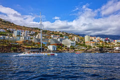 Madeira Yacht near Funchal beach, Portugal.  Stock Image