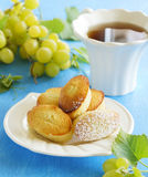 Madeleine cakes with grapes Stock Photo