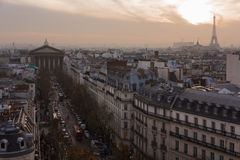 Madeleine church and roofs of Paris Stock Photography