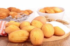 Madeleine cookie with ingredient Royalty Free Stock Photography