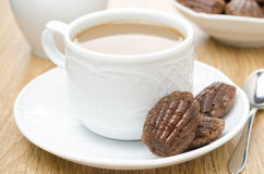 Madeleine cookies and coffee with milk, horizontal Stock Images