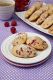 Madeleine cookies. With raspberry and lemon Royalty Free Stock Image