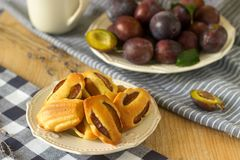 Madeleine with plums and plums. French cookies. Rustic style, selective focus. Stock Images