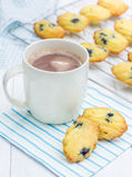 Madeleines with blueberries and a cup of hot chocolate. Homemade madeleines with blueberries and a cup of hot chocolate Stock Images