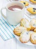 Madeleines en poudre par sucre avec des myrtilles photo libre de droits
