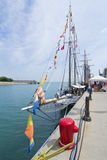Madeline docked at Navy Pier. May be used to advertise for upcoming tall ships exhibits at Navy Pier stock photography