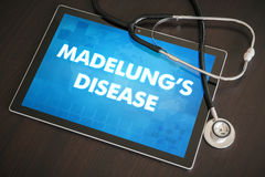 Madelung's disease (cutaneous disease) diagnosis medical concept. On tablet screen with stethoscope Stock Photos