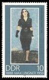 Mademoiselle Yvonne by Max Lingner. Germany, GDR - stamp 1988: Color edition on Art dedicated to 100 Anniversary Of The Painter, shows Painting Mademoiselle Royalty Free Stock Photography