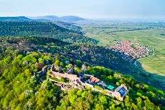Madenburg Castle in the Palatinate Forest. Rhineland-Palatinate, Germany. Aerial view of Madenburg Castle in the Palatinate Forest. Tourist attraction in Royalty Free Stock Photography