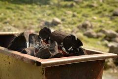 Madera ardiente Fotos de archivo libres de regalías