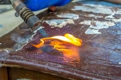 Madera ardiente de la chaqueta del fuego Fotografía de archivo libre de regalías
