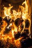 Madera ardiente en la caja de fuegos Imágenes de archivo libres de regalías