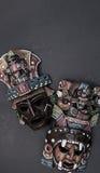 Madera azteca maya mexicana y máscara de cerámica fotografía de archivo