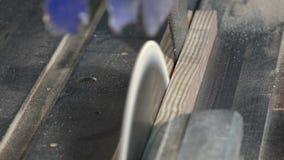 Madera-corte usando una sierra circular almacen de metraje de vídeo