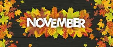 Madera de Autumn Foliage Fall Header November Stock de ilustración