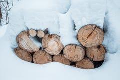 Madera de construcción de la pila del registro de la nieve en invierno Woodpile del pino Fotos de archivo libres de regalías