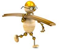 madera de construcción que lleva del hombre de madera 3d Fotografía de archivo libre de regalías