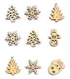 Madera de la decoración de la Navidad en blanco aislado Adorna la Navidad Foto de archivo libre de regalías