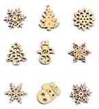 Madera de la decoración de la Navidad en blanco aislado Adorna la Navidad Imágenes de archivo libres de regalías