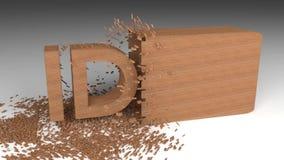 madera de la idea 3D que salta el texto metrajes