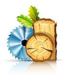 Madera de la industria de la carpintería con la sierra circular Imagenes de archivo