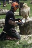 Madera de la motosierra que talla una escultura del águila fotos de archivo