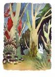 Madera del bosque del paisaje de la acuarela con los animalls libre illustration