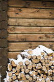 Madera del fuego del abedul en una pared Imágenes de archivo libres de regalías