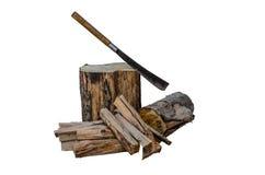 Madera del fuego y cuchillo grande viejo fotos de archivo libres de regalías