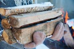 Madera del fuego y hacha vieja Recurso reanudable de una energía Imágenes de archivo libres de regalías