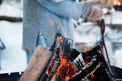 Madera del fuego y hacha vieja Recurso reanudable de una energía Foto de archivo libre de regalías