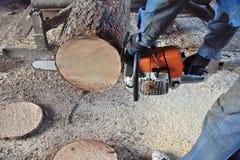 Madera del sawing de la motosierra Imagenes de archivo
