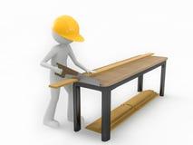 Madera del sawing del hombre stock de ilustración