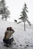 Madera, hombres, caballo y nieve blancos. imagen de archivo