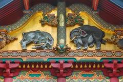 Madera imaginada de los elefantes que talla en la capilla de Nikko Toshogu en Japón fotos de archivo
