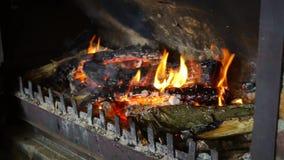 Madera llena de HD que quema en chimenea almacen de video