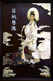 Madera mural antigua con el encrustation del arte nacarado de Tailandia Imagenes de archivo