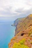 Madera, Ponta do Pargo - trillende klippenkust Stock Afbeelding