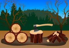Madera que cosecha en el bosque libre illustration