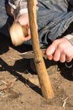 Madera que parte de la mano adolescente Imagen de archivo libre de regalías