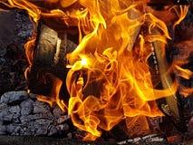 Madera que quema en un alto fuego Fotografía de archivo