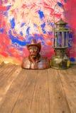 Madera que talla con la linterna vieja Imagen de archivo libre de regalías