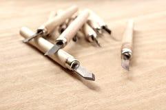 Madera que talla las herramientas Foto de archivo libre de regalías