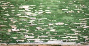 Madera resistida verde con la peladura de la pintura Foto de archivo libre de regalías