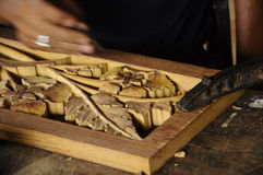 Madera tradicional malasia que talla de Terengganu Imágenes de archivo libres de regalías