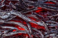 Madera y carbón ardientes en chimenea Primer de la madera ardiente caliente, Fotos de archivo