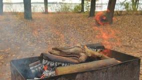 Madera y carbón ardientes en el brasero El cocinero utiliza el póker que se prepara para el kebab de la barbacoa y carne y los pe almacen de video