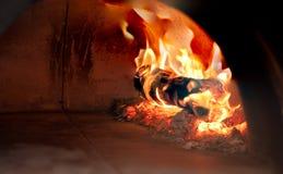 Madera y carbón de leña ardientes del primer en estufa Imagenes de archivo