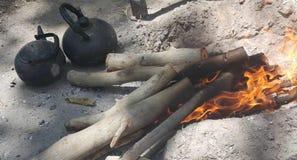 Madera y fuego Imagen de archivo libre de regalías